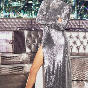 Silver Sequin Backless Maxi Dress