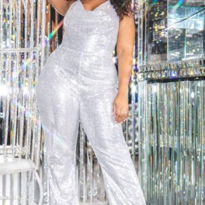 Plus Silver Sequin Cowl Neck Halterneck Jumpsuit