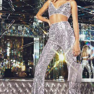 Silver Sequin High Waisted Flare Trousers