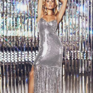 Silver Sequin Tassel Hem Midi Dress